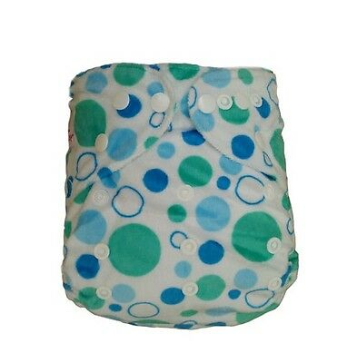 Reusable Baby Infant Nappy Modern Cloth Diapers and Insert, Minky Blue Dots