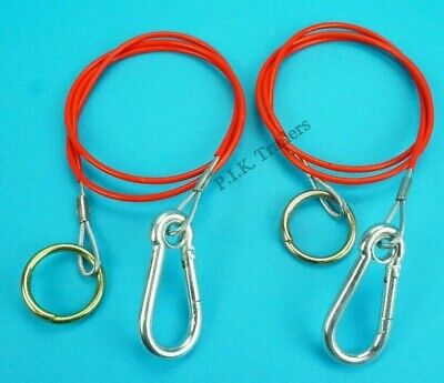 2 x RED Breakaway Cables with Split Ring for Trailer Caravan & Horsebox   #RB1