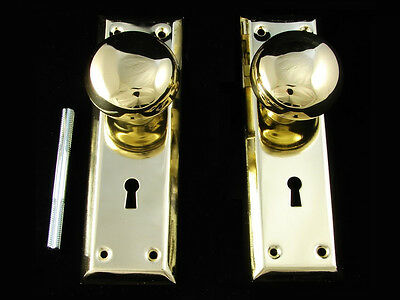 Antique Style Solid Brass Doorknob & Backplates Plates Set New Replacement