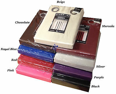 Ring Top Thermal Fully Lined Solar Blackout Pair Eyelet Ready Made Curtains