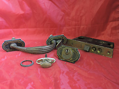 Antique Brass Ornate Hardware Pull Handle Entry Door + Mortise Lock + Escutcheon