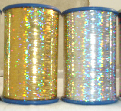 2 Holographic LUREX  Thread Spools  3000 Mtrs each 1 Gold+1Silver + 1 Spool Free