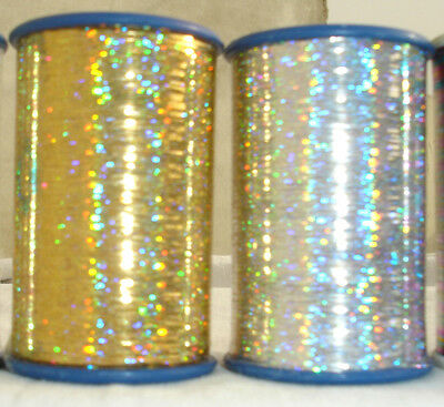 2 Spools of Holographic LUREX High Quality Thread 4000 Mtrs each 1 Gold+1Silver