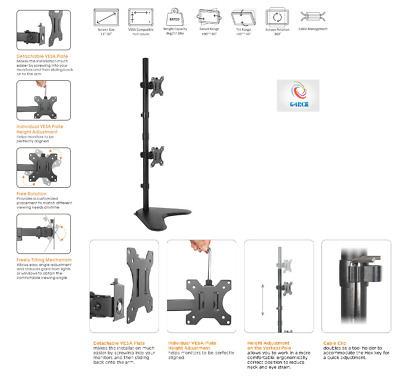 """Aluminum Vertical Dual LCD LED Monitor Vesa Desk Stand Mount Holds Upto 27"""" Inch"""