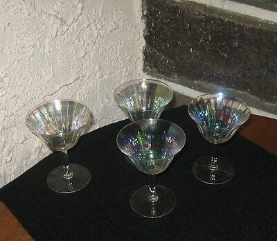 Iridescent glassware Champagne/dessert lot of 4 Light up your life