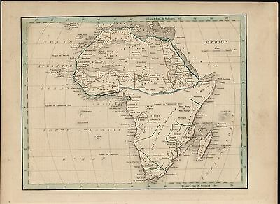 Africa w/ Mts. of the Moon 1840 Bradford fine old vintage antique map