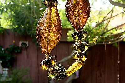 Antique Handmade Old Heavy Handblown Amber Glass Gilded Filigree Decoration 2Ib
