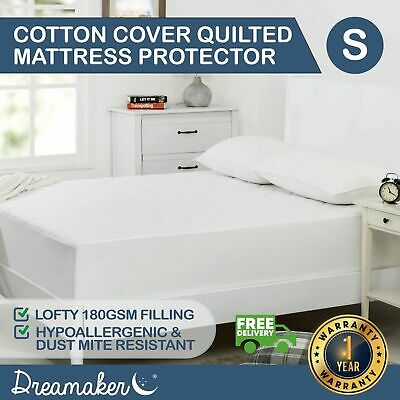 Quilted 100% Cotton Cover Mattress Protector Soft Diamond Quilt Fully Fitted