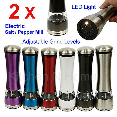 2pcs Electric Salt Pepper mill, Pepper grinder, Electric grinder with LED light