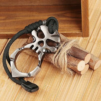 Tactical ZincAlloy Self Defence Outdoor Survival EDC Tool Skull Keychain Pendant