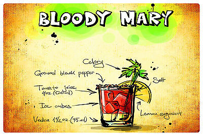 Fridge magnet vinyl Bloody Mary coctail recipe gift educational