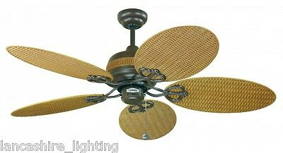 """Fantasia 111696 Wicker 48"""" Ceiling Fan Chocolate Brown With Natural Wicker"""