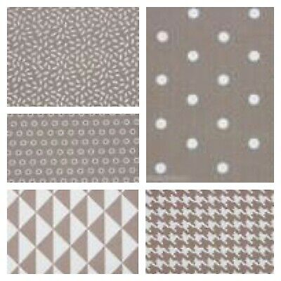 MONO GEOMETRICS - PALE TAUPE - 150cm WIDE 100% COTTON FABRIC  PATCHWORK FASHION