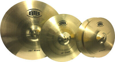 "Cymbal Set Heavy Duty 14"" Hi Hats 16"" Crash 20"" Ride BTB20"