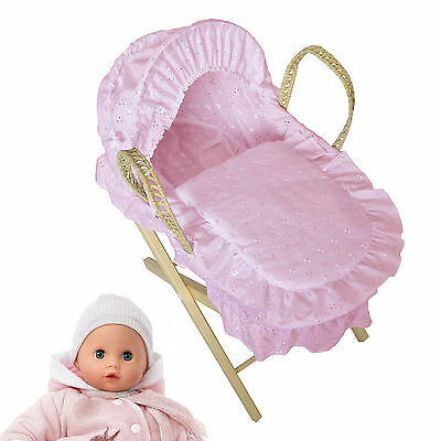 New 4Baby Pink Broderie Anglaise Toy Dolls Moses Basket & Pine Stand