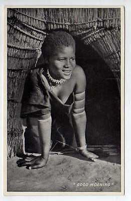 (Ly042-388)  Real Photo of A Zulu, Good Morning, Unused  G-VG