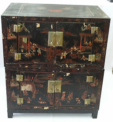 RARE19c PAIR OF STACKED CHINESE LACQUER CHEST TRUNK CABINET HAND PAINTED