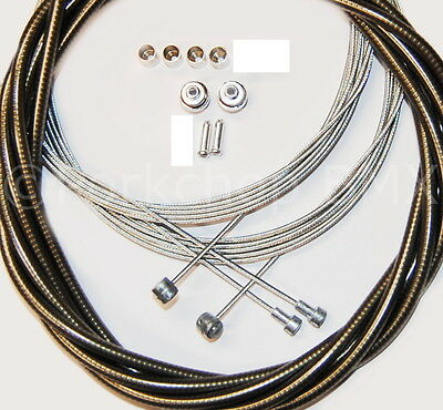 Bicycle 5mm LINED vintage ROAD bike brake cable housing kit SHINY CHROME