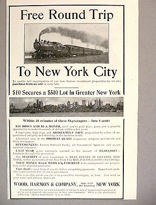 New York Real Estate Opportunity PRINT AD - 1903 ~ Wood, Harmon & Co.