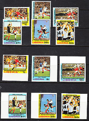Liberia # 820-25 MNH Complete BOTH Perf & Imperf Football Soccer CV $25