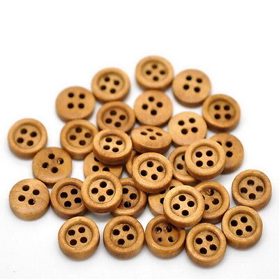 "100PCs Coffee 4 Holes Round Wood Sewing Buttons 11mm(3/8"") Dia."