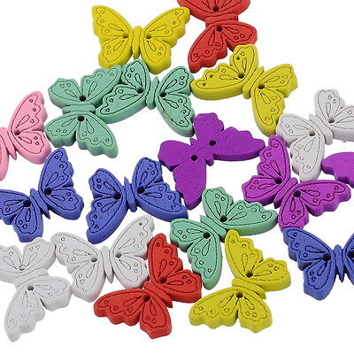 "50PCs New Buttons Scrapbooking Butterfly 2 Holes Mixed 6/8""x1"""