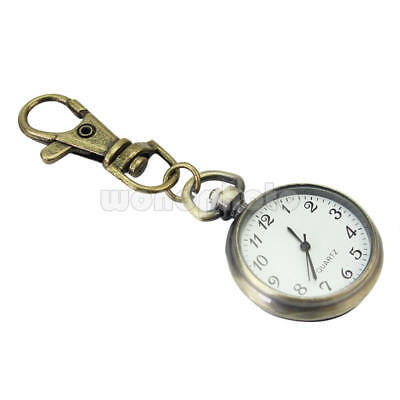 Bronze Quartz Pocket Keychain Ring Watch Pendant Arabic Numerals Timepiece Gift