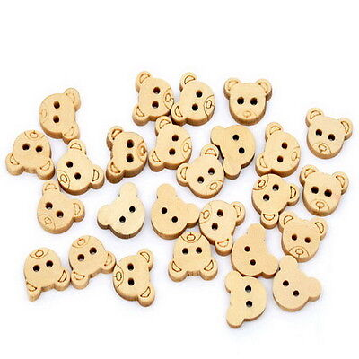 100PCs Bear Wood Sewing Buttons Scrapbooking DIY Accessories 13x11mm