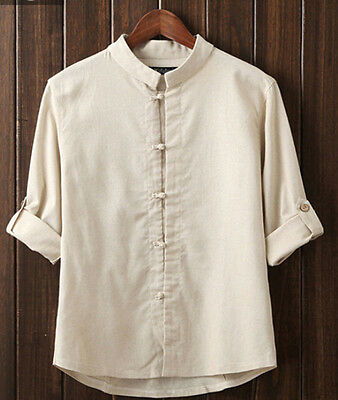 Chinese Traditional Linen Shirt Men Vintage Ethnic Stand-collar Casual Jacket