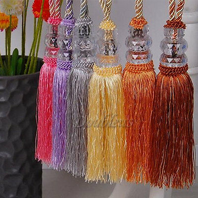 2pcs Crystal Tassel Beaded Tieback Window Curtain Fringe Tie Backs Decor Stylish