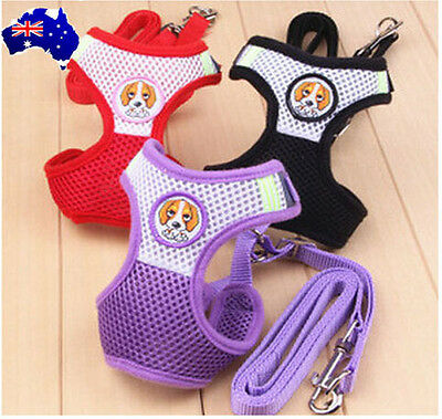 Cross Soft Mesh Small Pet Dog Puppy Cat Kitten Harness And Leash Lead Set  S