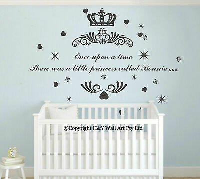 Princess Crown Custom Personalised Name Wall Art Stickers Decals Nursery Decor