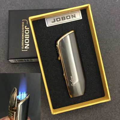 JOBON Triple Jet Flame Cigar Refillable Butane Gas Torch Lighter Gray with Box