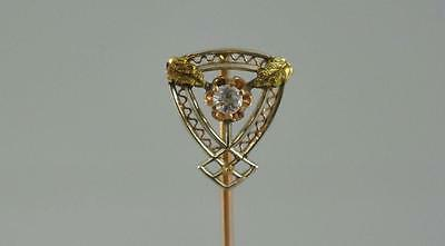 "Vintage/Estate Stamped 10K Yellow Gold 2 1/2""  Stick Pin with 3mm Diamond"