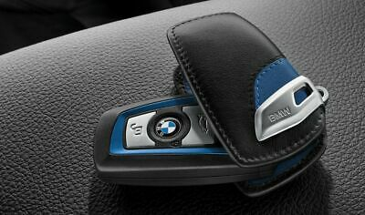 BMW Genuine Key Holder Fob Leather Case/Cover M Sport Blue 82292219915