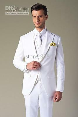 White Men's Bridal suits Groom Tuxedos Formal Occasion Suits Party Dinner Suits