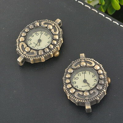 LOVE Retro Bronze Round Watch Face Dot Tendril Heart DIY Findings 5x