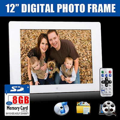 "New 12"" White Digital Photo Frame MP3 Audio Video USB Photograph + 8GB SD Card"