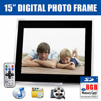 "New 15"" Black HD Digital Photo Frame MP3 Audio Video Photograph + 8GB SD Card"