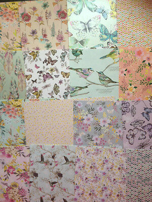 16 SHEET TASTER PACK FIRST EDITION PAPER FLOWERS 6 x 6  CARD MAKING CRAFT PAPER