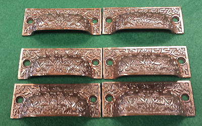 Old Drawer Handles Pulls Embossed Cast Iron Victorian Style  Set Of 6 (#111B)