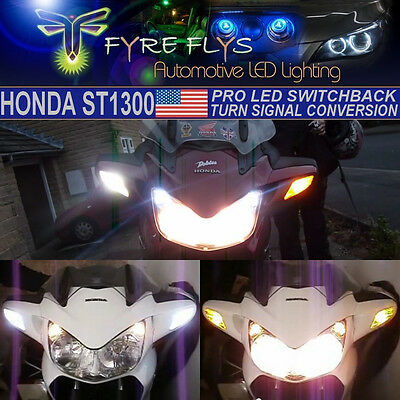 White & Yellow SwitchBack LED Turn Signals Kit for 2002 - 2014 Honda ST1300 #HS2