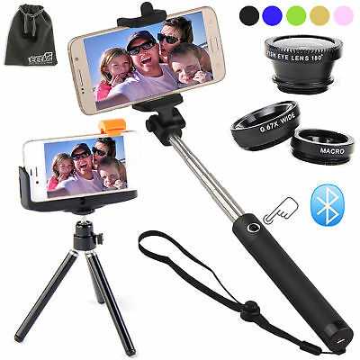 EEEKit for Smart Phone Bluetooth Wireless Shutter Selfie Stick Pole Monopod+Lens
