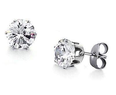Pair Of 316l Surgical Stainless Steel Stud Earring With Round Clear Cz