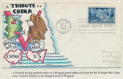 "#906 On Knapp Fdc Cachet Handpainted ""chinese Resistance"" Bs2914"