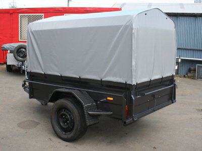 7x4 Heavy Duty Box Trailer with 500mm High Sides & Rip Stop Vinyl Canopy