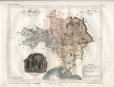 Antique map of Gard French Department, by Lorrain c1836.