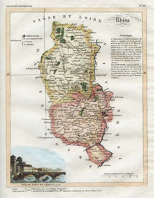 Decorative antique map of Rhone French Department. Lorrain c1836