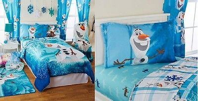 NEW NIP Disney Frozen Olaf Twin or Full Bedding Set 4 Piece Set Comforter Sheets