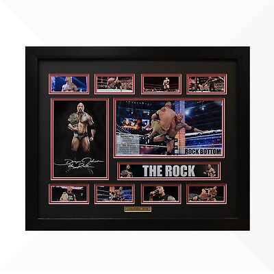 The Rock WWE Signed & Framed Memorabilia - Black/Red Limited Edition